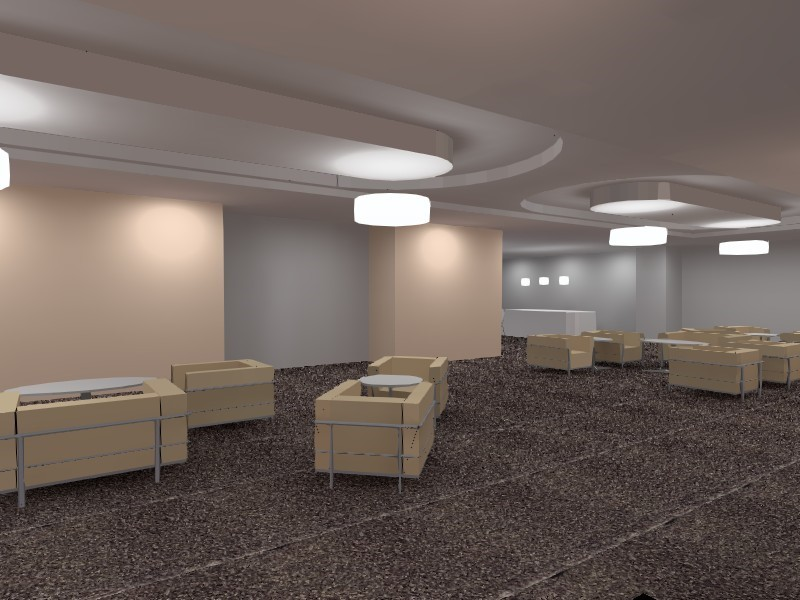 Dialux 3D view of a care home seating area in true colour